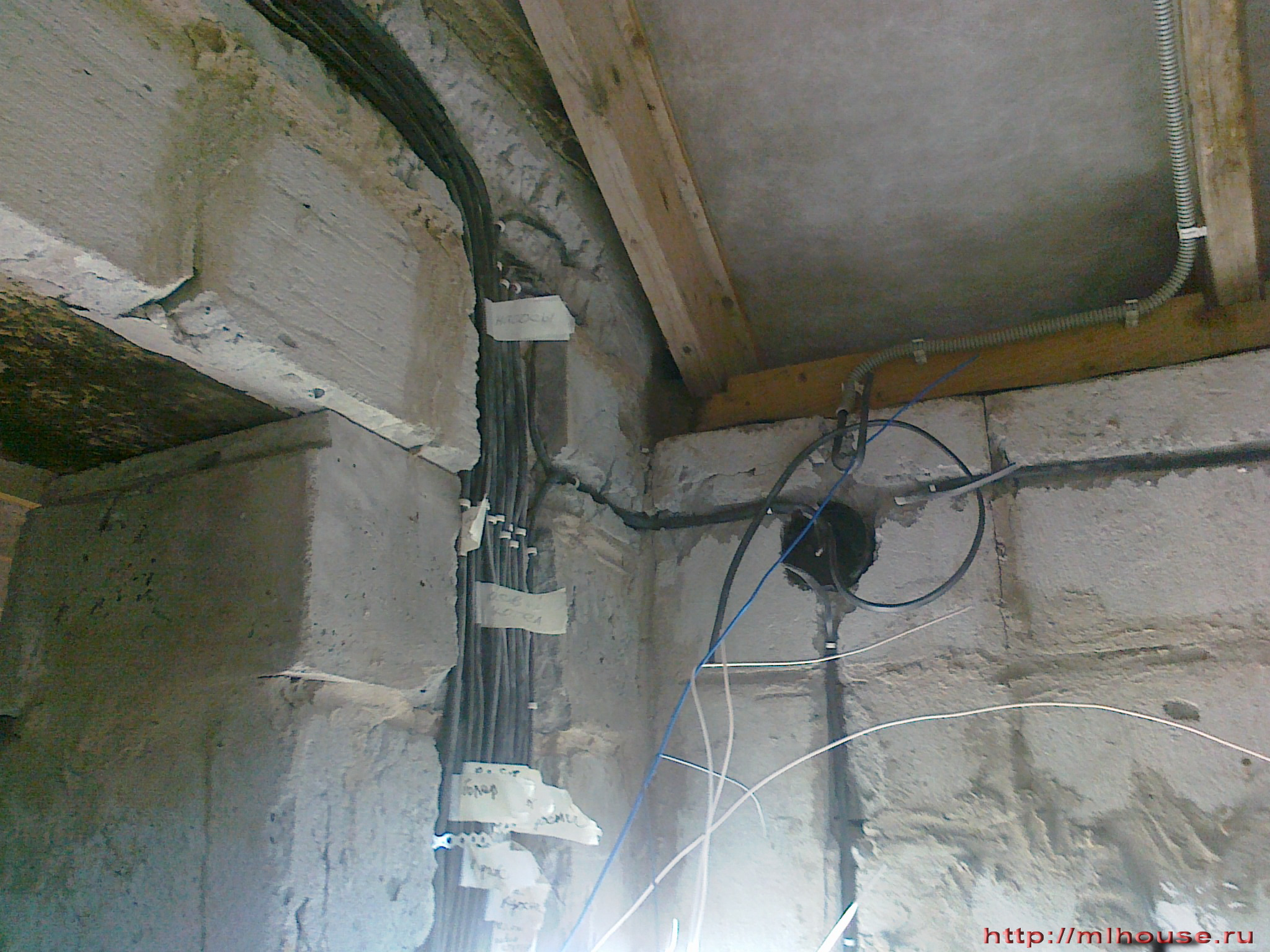 Dacha House With His Hands Wirirng Electrical Wiring In Cinder Block Walls Grounding System Was Installed